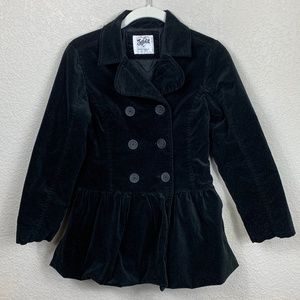 Girls Justice Black Velvet Pea Coat w/ Ruffle 10